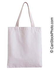 white fabric bag isolated on white background with clipping...