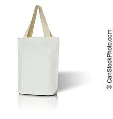 white fabric bag on white background