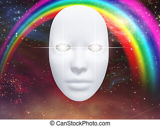 White face mask and rainbow