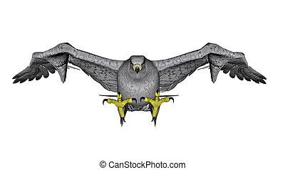 White falcon flying - 3D render