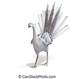 white fantasy bird with beautiful feathers. 3D rendering with clipping path and shadow over white