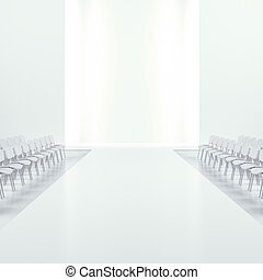White fashion empty runway isolated on a white background. 3d render