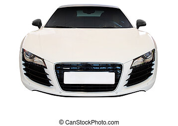 white fast car isolated