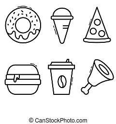 white fast food icons