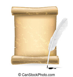 white feather and old scroll