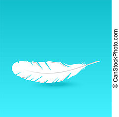 Illustration white feather falling - vector