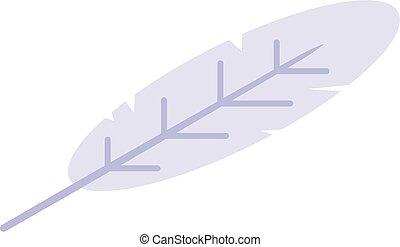 White feather icon, isometric style