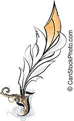White feather illustration on background