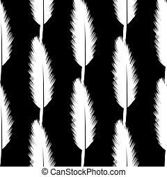 White Feather Pen Seamless Pattern