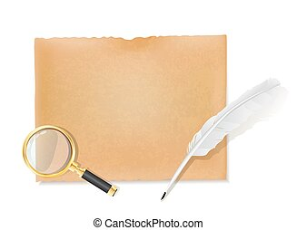 white feather quill, magnifier glass and old scroll background, vector illustration