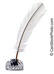 White feather quill pen and inkwell isolated - Photo of a...