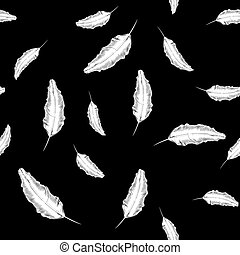 White Feather Seamless Pattern