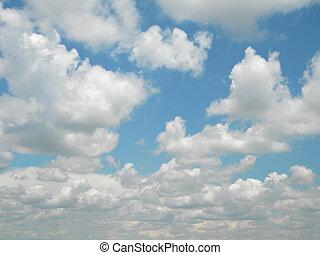 white felhő, képben látható, egy, kék ég