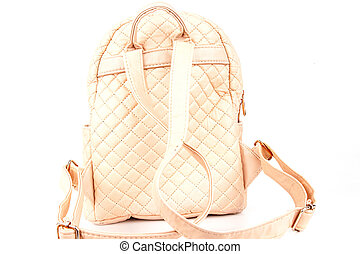 White female backpack isolated on a white background.