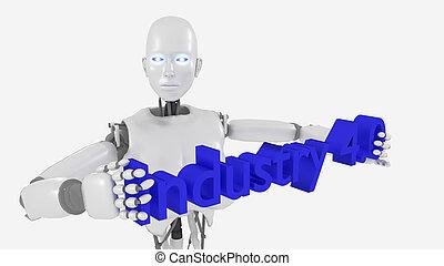 White female robot holding industry 4.0 word