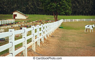 White fence on the farm