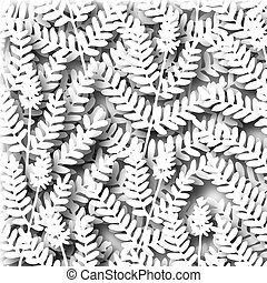 Illustration of cutout white fern leaves and shadows