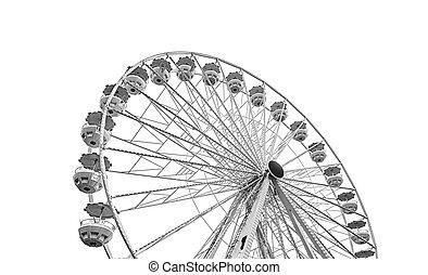 White ferris wheel isolated on white background