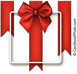 White festive background with red bow.
