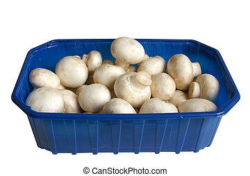 White field mushrooms in box