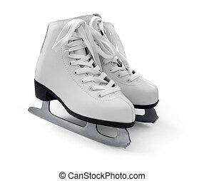 Pair of women's white figure ice skates isolated on white