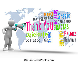 White figure revealing thank you in different languages with a megaphone with map on the background