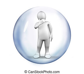 White Figure standing at a bubble