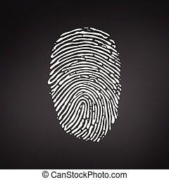 White Fingerprint icon on modern black background. Vector illustration.