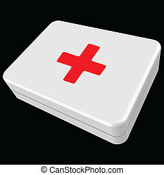 white first aid box against black background, abstract...