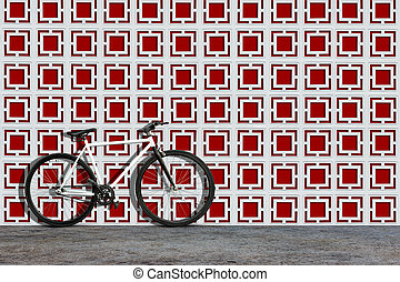White fixed gear bicycle on Concrete block wall