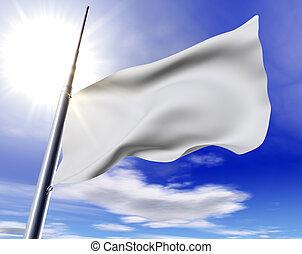 White flag - 3d image of white flag against the blue sky