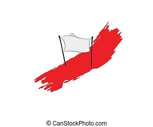 white Flag brush on white background in vector illustration