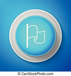 White Flag icon isolated on blue background. Circle blue button with white line. Vector Illustration