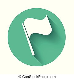 White Flag icon isolated with long shadow. Green circle button. Vector Illustration