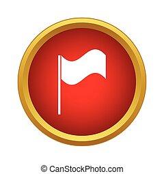White flag icon, simple style