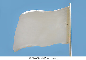 White flag isolated on light blue background