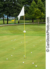 White flag on a golf course