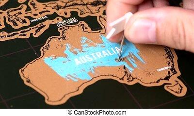 White flag on black scratch travel map of Australia, Sidney