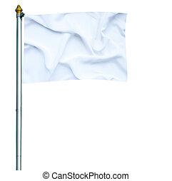 White flag waving on mast isolated on white