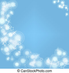 White flares and stars on a pale blue background