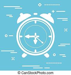 white flat alarm clock icon on blue background