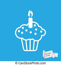 white flat cake icon on a blue background
