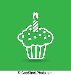 white flat cake icon on a green background
