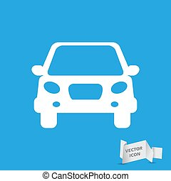 white flat car button icon on a grey background
