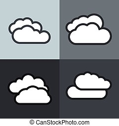 White flat cloud icons on color background