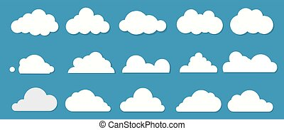 White flat clouds collection on the blue background. Vector
