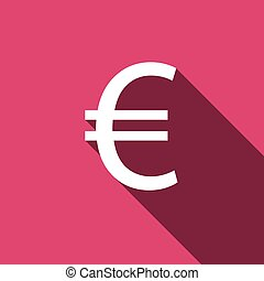 White flat Euro icon with long shadow. Vector illustration