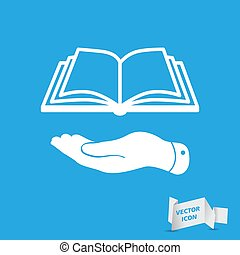 white flat hand giving the book icon - vector illustration