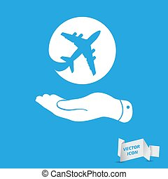 white flat hand showing airplane icon on a blue background