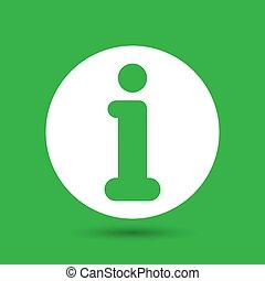 white flat info icon on green background